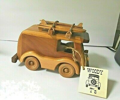 Hand Carved Wooden Woody Surfer Station Wagon with Surf Boards