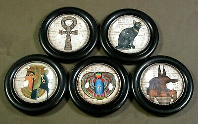 """Glass Dome Buttons - Set of 5 in Resin - Egyptian Theme Designs  - 1 & 15/16"""""""