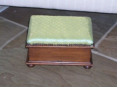 Antique Georgian Mahogany Footstool Chest Box Bun Feet