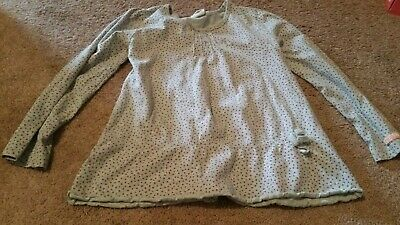 Girl's Naartjie Gray With Stars  L/S Shirt W/ Drop Elastic Waist Size Xl  7 Yrs