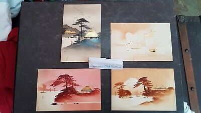 Very old 1915 Japanese Postcards X 4  Gold & Black / Red Ink Lacquered Japan