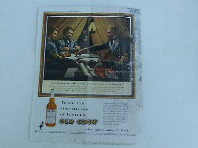 Vintage Old Crow Kentucky Bourbon Confederates Early 1960's Color Advertisement