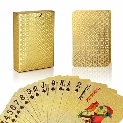 Durable 24K Gold Foil Plated Cover Poker 54 Playing Cards Table Games Party ACC