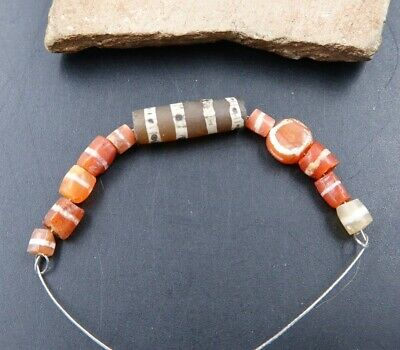 11 Incredibly Cool Rare Ancient 300-600 Ad Etched Carnelian Beads