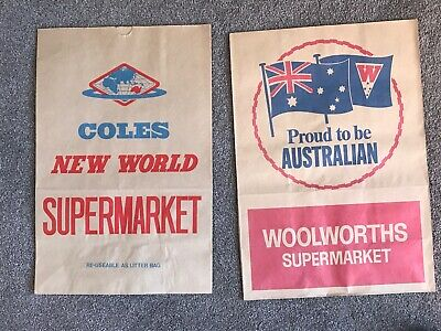 2 X Paper Shopping Bags - Coles And Woolworths - Excellent Condition