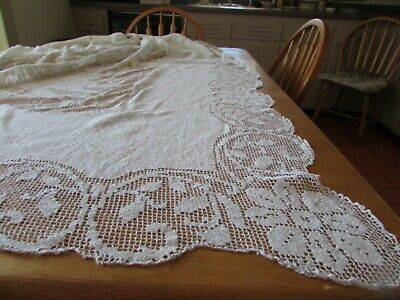 "Antique/Vintage Bobbin Lace Tablecloth 136"" x 120"" Scalloped Edge Bone Off-White"