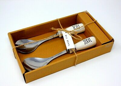RAE DUNN TOSS and SERVE Serving Set Salad Fork and Spoon NEW