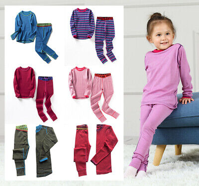 Soft Non Itchy Merino Top Pants Set Comfortable Elastic Kids Thermal Underwear