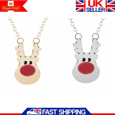 2pcs Deer Reindeer Elk Stag Horn Antler Pendant Necklace Chain in Gold Silver UK