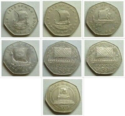 Isle of Man IOM Large Size 50p Viking Ships etc by date : See Drop Down Menu