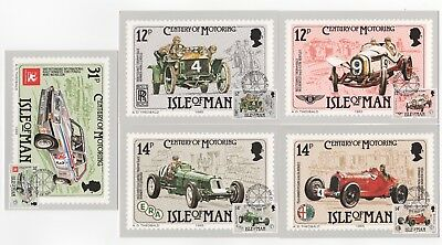 1985 ISLE OF MAN - 5 x First Day Cover Postcards CENTURY OF MOTORING Cars