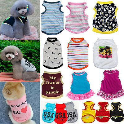 Cute Dogs Clothing Puppy Various Summer Vest T Shirt Dress Apparel Costume New