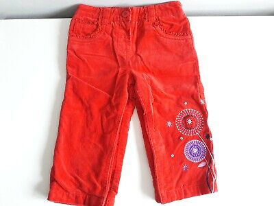 JOHN LEWIS Girls Red Cotton Trousers Age 9-12 Months In Great Condition