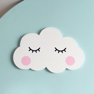 Nordic Cute Wooden Cloud Moon Ornament Wall Sticker Baby Kids Room Decor Cosy
