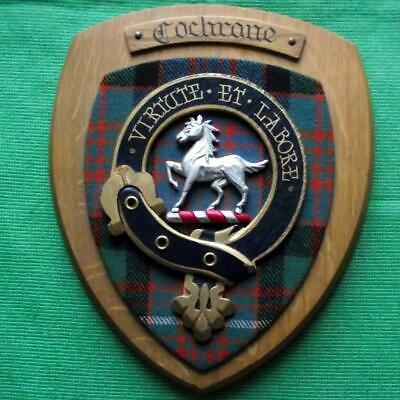 Vintage Old Scottish Carved Clan COCHRANE Tartan Plaque Crest Shield x