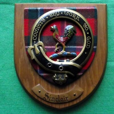 Vintage Old Scottish Carved Clan SINCLAIR Tartan Plaque Crest Shield x
