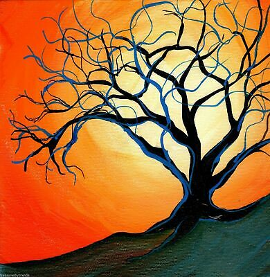Bright Sun and Tree Acrylic Landscape Painting on Canvas Signed Mary Loos