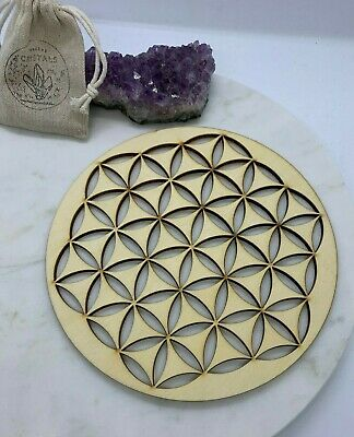 NEW 20cm Wooden Sacred Geometry Crystals Grid Flower of Life Light Brown 6mm