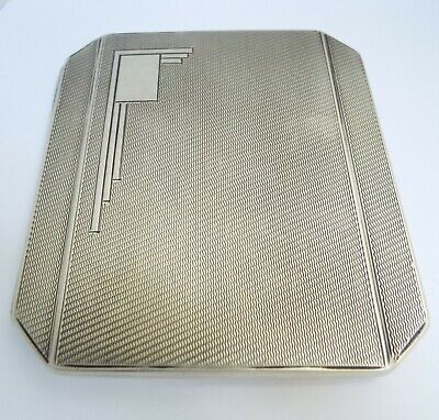 Superb Clean Heavy English Antique Art Deco 1941 Sterling Silver Cigarette Case