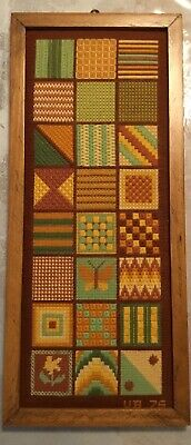 Vintage Cross Stitch Needlepoint Quilt Pattern Sampler Initialed Framed Complete