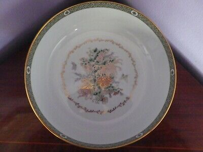 Fab Large Vintage Japanese White Flowers & Butterflies Bowl23 Cms Dia 8 Cms Tall