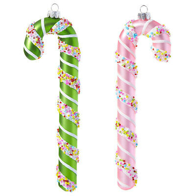 """RAZ Imports 7.75""""Candy Cane Ornaments Set/2 Green Pink Glass Beads Christmas NEW"""