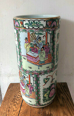 Antique Vtg Signed Chinese Porcelain Famille Rose Medallion Umbrella Stand Pot