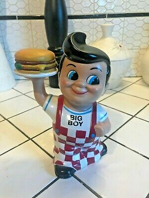 "Vintage Vinyl Bob's Big Boy 8"" Coin Piggy Bank 2001 Restaurant Hamburger Doll"