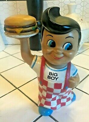 "Vintage Vinyl Bob's Big Boy 8"" Coin Piggy Bank 1999 Restaurant Hamburger Doll"