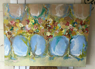 Antique Large Original Abstract Floral Still Life Oil on Canvas Painting