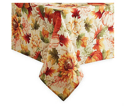 Fall Rectangle Tablecloth Sunflowers Leaves and Pumpkins Autumn 60 x 144