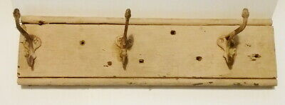 """Antique 16 1/2"""" Painted Board with 3 Cast Iron Coat Hooks"""