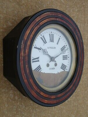 Antique French Chiming School / Railway Wall Clock. Spares Or Repair