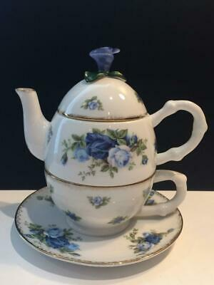 Royal Albert Moonlight Rose Stack-Able Teapot, Teacup & Saucer For One Ch5515