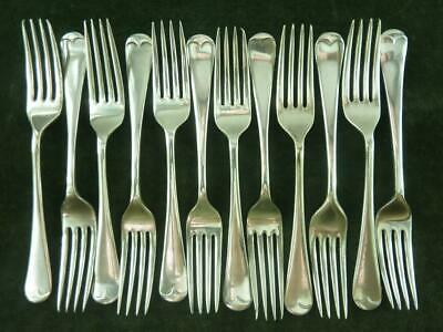 12 Vintage EPNS Silver plated Old English Dessert Side forks mixed makers #3