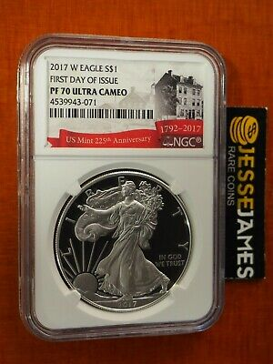 2017 W Proof Silver Eagle Ngc Pf70 Ultra Cameo First Day Of Issue Fdi Label