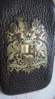 SUPERB ANTIQUE FRENCH LEATHER WALLET CASE WITH CREST & BROWN OF A BARON c1850