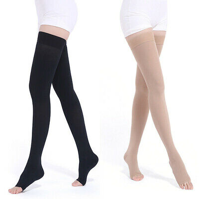 Medical Compression Stockings Support Varicose Veins Thigh High Open Toe Unisex