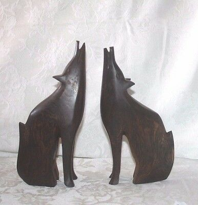 Vintage Handcarved Ironwood Howling Wolf Sculptures Coyote Arizona Sonoran