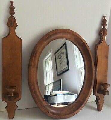Tell City Chair Co. Maple #3134 Oval Mirror & Pair Of #3168 Candle Wall Sconces