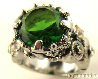 Silver EP 6 cts Emerald Green CZ Cubic Zirconia Round Cocktail Ring Size 6