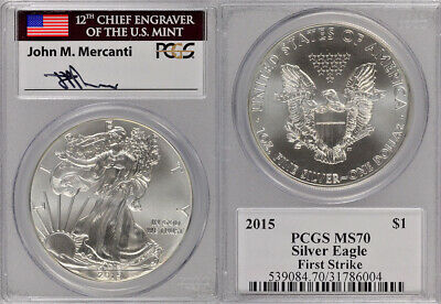 2015 Pcgs Ms70 1St Strike Chief Engraver Mercanti Signed 1Oz Silver Eagle Coin !