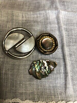 Vintage Mother Of Pearl Shell Abalone Buttons 119-98