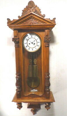 """Beautiful German 'Remember"""" 2 Weight Carved Vienna Regulator--1890--Signed Dial"""