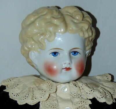ANTIQUE China Doll BLONDE BOY Nicely Costumed! GERMAN