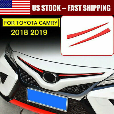 2* Stainless Front Center Grill Grille Cover Trim For Toyota Camry 2018 2019 US