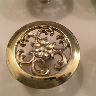 Lot of 29 Vintage Victorian Solid Brass Floral Swirl Knob 1 1/2 Inch Made in US