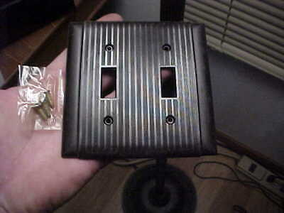 Vintage NOS Uniline Bryant Brown Bakelite Ribbed 2 Gang Switch Cover With Screws