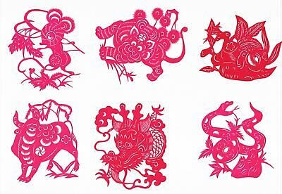 Chinese Paper Cuts Year of Animals Set # B Red color 12 small pieces Zhou