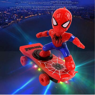 Kids Spiderman Toys Electric Spider-Man 360° Rotating Scooter W/ Music Light AU